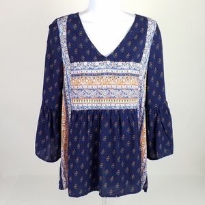 Entro Blue Bell Sleeve Boho Blouse Womens Small